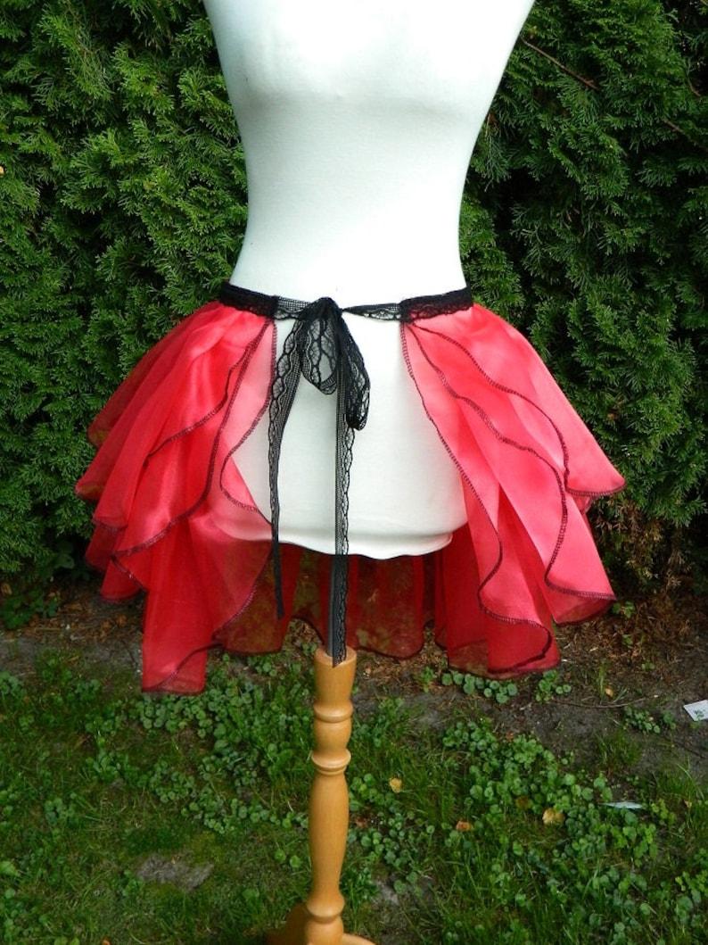 bustle skirt red black organza Gothic burlesque pinup dragqueen travesty showgirl samba costume wrap around Steampunk fairy