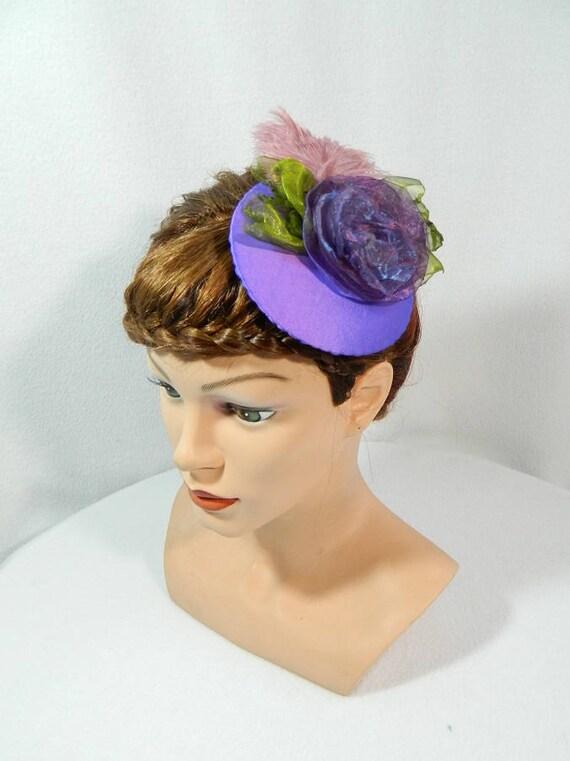 purple Fascinator Gothic Steampunk Hat Minihat Bibi Chapeau  6aca5440f54