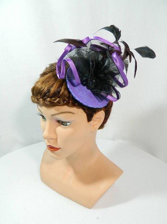 purple black Fascinator Crin glass beads Burlesque Hat Ladies  2a02ee51c3d