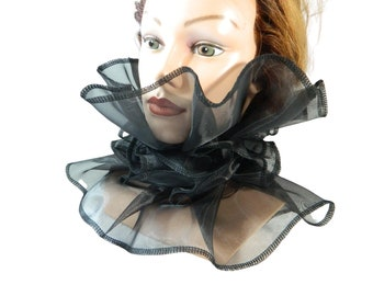 Organza Collar, ruffle Choker, Goth Bib, Halloween Scarfette , Costume Millstone Collar, Statement Necklace