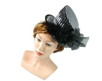 Midi Top hat, Derby Hat, goth fascinator, Halloween Headpiece, Burlesque Fascinator, Steampunk Hatinator, Cosplay Lolita, Hat with veil