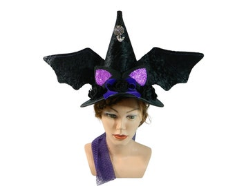 Velvet Witch hat, Bat hat, Hat with ears and wings, Spooky Headpiece, Halloween Costume, Creepy Party, Witchcraft