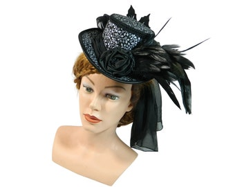 Midi Tophat, Manorial riding hat, lordly ladieshat, goth headpiece, halloween costume fascinator, hatinator, cocktail hat, victorian coif