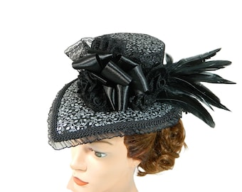 Drop shaped Tophat, Midi Hat, Hatinator, Fascinator, Goth Headpiece, Halloween Costume Hat, Occasion Ladies Hat, Derby Hat