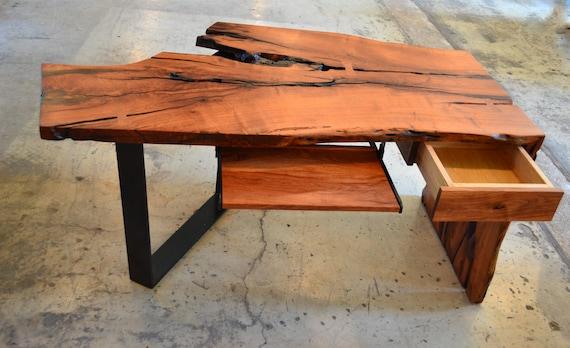 Live Edge Desk, Mesquite Wood Desk, Wood Slab Desk, Custom Wood Desk,  Nakashima, Modern Office Desk, Live Edge Rustic, Reclaimed Wood