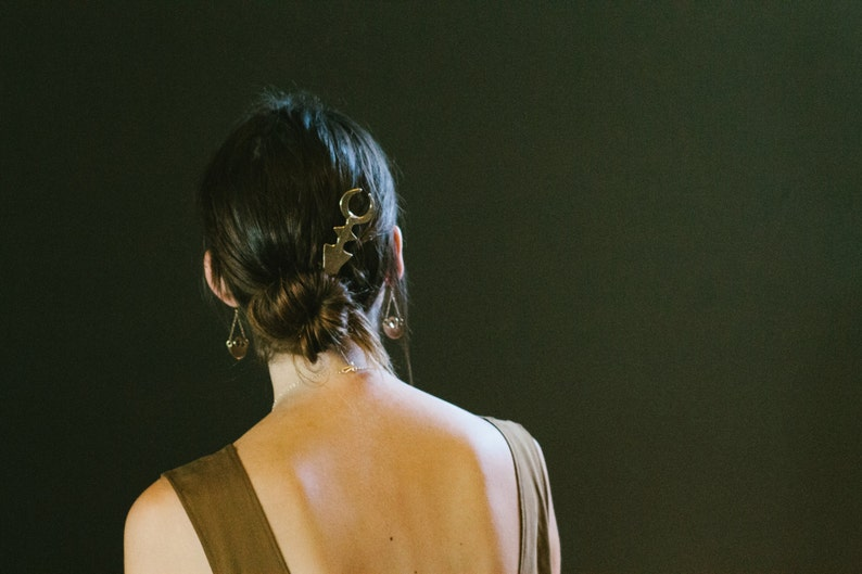 Gold Crescent Moon Hair Pin After Midnight Bun Pin