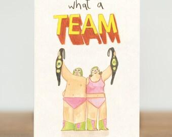 Sports Humor Let/'s Go Athlete Wrestling Gay Card