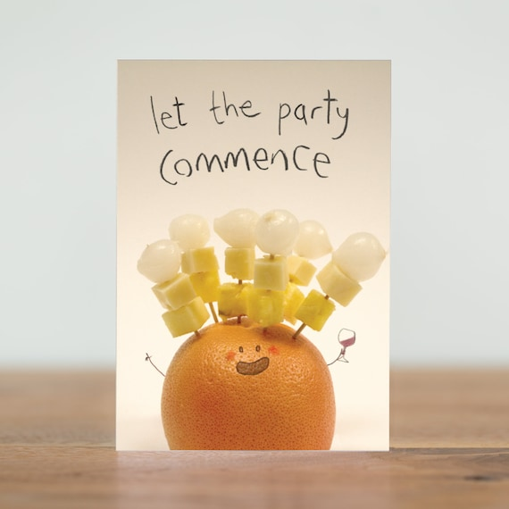 Fruity Veg Greeting Cards Let The Party Commence Greetings Card Humour Vegetables Funny 1970s 80s Party Food Hedgehog Birthday