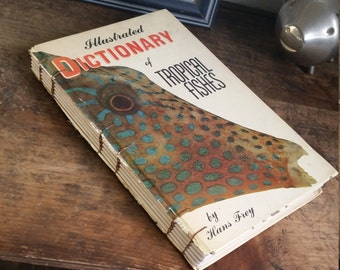 Vintage Book Cover Journal - Dictionary of Tropical Fish 6 x 9 by The Orange Windmill on Etsy 1689