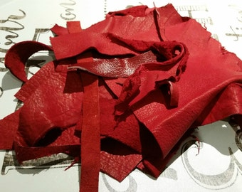 Leather Scraps - 8 oz (230 g) of Shades of Red Leather 1679