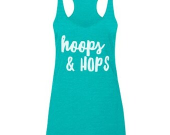 16b250ee9a573 Hoops and Hops Beer Racerback Tank Top   Fitness    Workout   Cute   Womens    Exercise   Flowy Tee   Funny   Hula Hooping   Hooper   Gift