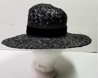 9b740a06e15 Vintage Black Hat Ladies Womens Maxine Hats Woven Basket Weave Sun Wide  Brim Ribbon Bow