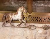 Vintage Horse, Arrow Weathervane, Tin Folk Art, Primitive Yard Decor, Farmhouse Kitchen, Rustic Cabin