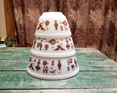 Vintage Pyrex Early American Bowls Nesting Mixing Americana Heritage 3 Set Piece Brown and White 401, 402. 403