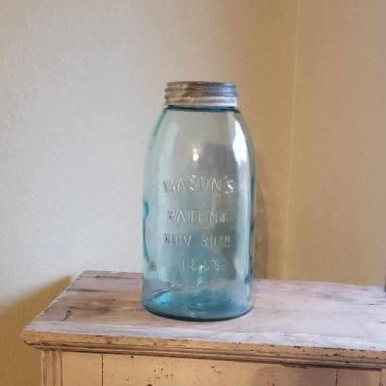 Antique Blue Mason S Jar Half Gallon Zinc Lid Patent Nov Etsy