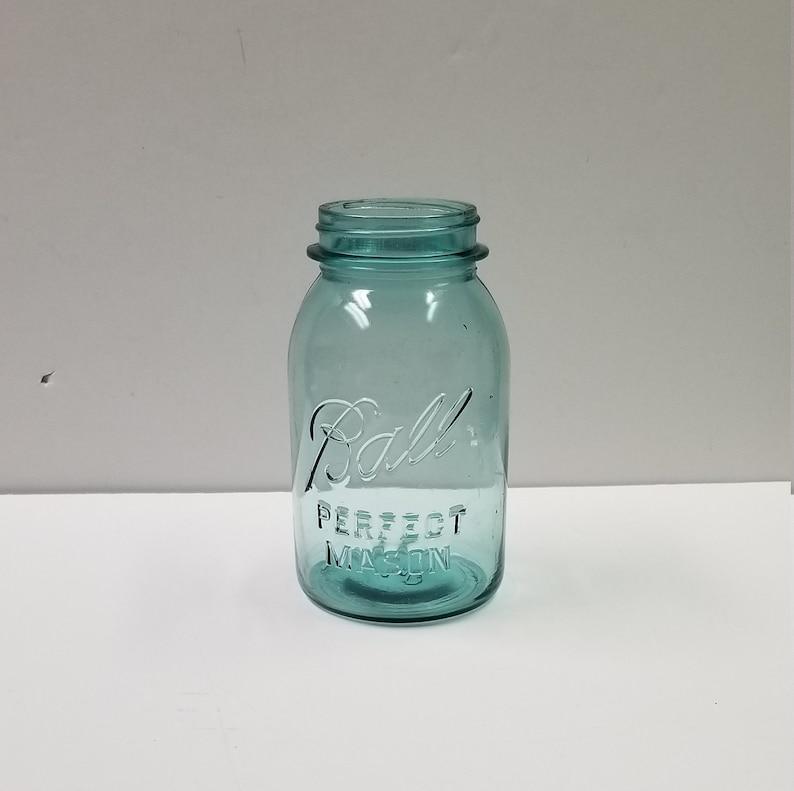 Vintage Blue Ball Jar Perfect Mason Blue Quart Canning Jar 1923 1933  Vintage 6 Availble Molds 0 1 3 4 6 9
