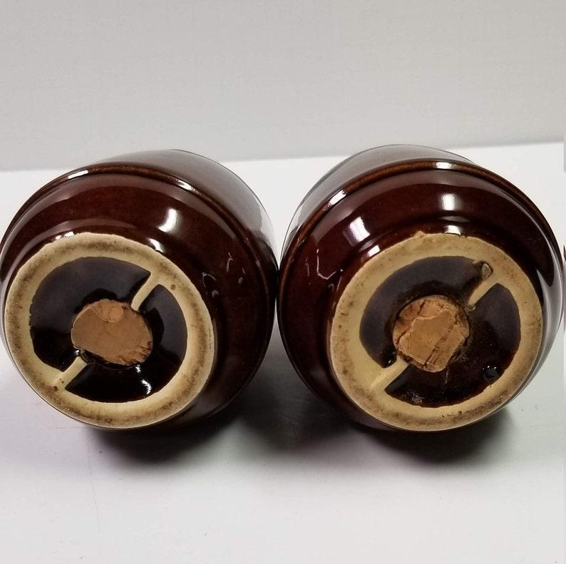 Vintage Salt Pepper Shakers Hull Brown Drip  USA 4-14