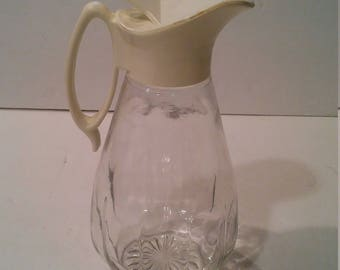 Vintage  Syrup Pitcher Clear Dispenser Mid Century Retro Plastic Cover