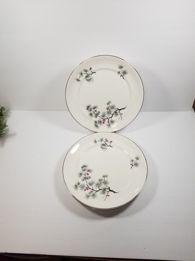 set of 2 Maroon Pine Cone Dinner Plates Vintage Silver Pine China Pope Gosser