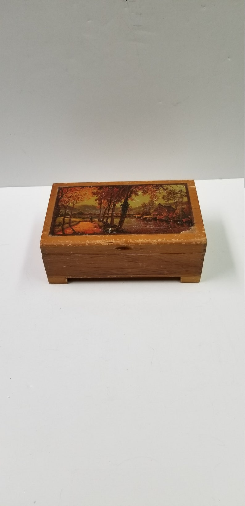 Vintage Jewelry Box Wood Decoupaged Floral Hinged Dovetailed Shabby Chic