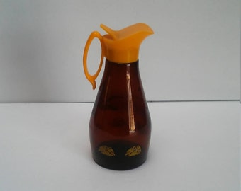 Log Cabin Amber Brown Yellow Syrup Pitcher Dispenser Eagles Vintage Retro Advertising
