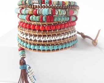 Leather Wrap Bracelets for Women Southwestern Jewelry Boho Beaded Wrap Leather Bracelet Stack Bohemian Jewelry Stackable Layering Bracelets