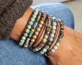 Handmade Amazonite Tibetan Jasper and Pearl Multi Strand Beaded Bracelet, Multi Layer Brown Leather Wrap Boho Bracelet, Bohemian Jewelry