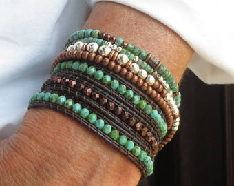 745770524c4c Stackable Bracelets Leather Wrap for Women Bracelet Stack Beaded Bracelet  Wrap Around Brown Leather Bracelet Boho Festival Turquoise Jewelry