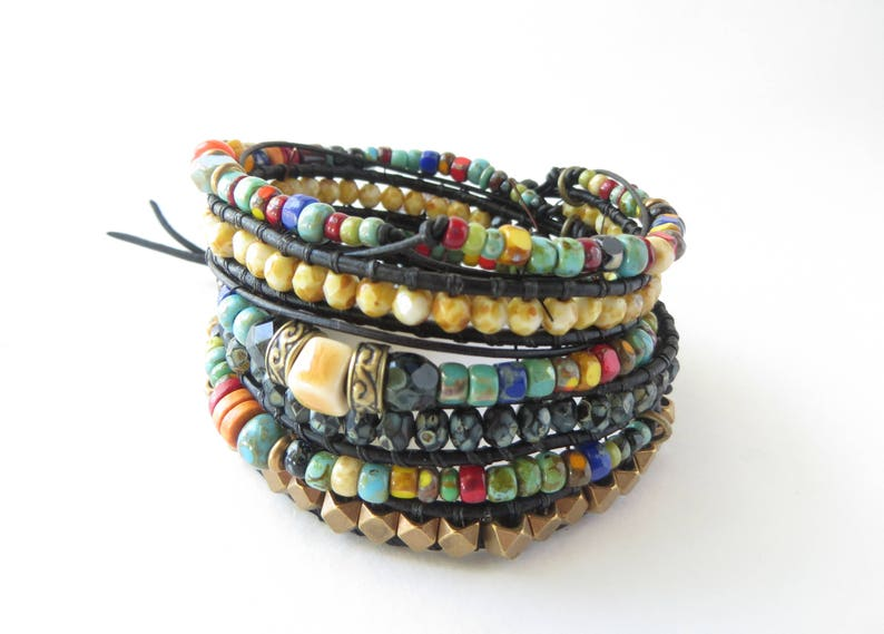 c9d4da6743d2b Bohemian Jewelry, Multi Strand Beaded Bracelet for Women, Colorful Black  Leather Wrap Bracelet, Best Seller