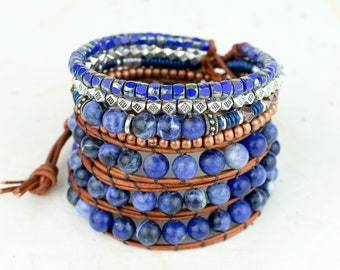 Sodalite Beaded Leather Wrap Bracelet, Semi Precious Stone Multistrand Bracelet, Anxiety Healing Bracelet, Wide Bracelet Stack Boho