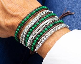 Malachite Gemstone Beaded Bracelet with Silver Beads, Triple Wrap Leather Multi Strand Stone Bracelet, Multi Layer Wrap Around