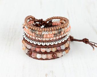 Rose Gold Beaded Bracelet, Multi Strand Beaded Wrap Bracelet, Adjustable Chunky Leather Wrap Bracelet Stack