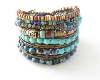 Ladies Boho Wrap Bracelet, Blue Beaded Adjustable Multilayer Stacking Leather Bracelet, Southwestern Jewelry for Women