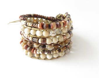 Chunky Boho Stone Bracelet Stack, Woven Wrap African Opal Tibetan Bracelet, Rustic  Multi Strand Leather Bracelet