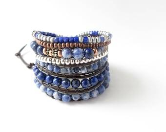 Lapis Lazuli Sodalite Cobalt Blue Beaded Bracelet, Boho Brown Leather Navy Blue Gemstone Wrap Bracelet, Bohemian Jewelry, Calming Bracelet