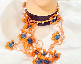 Lariat crochet orange flower necklace , Turkish necklace , gypsy necklace , bohemian necklace , ethnic necklace
