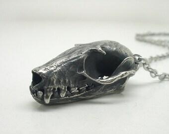 Fruit Bat Skull Necklace, White Bronze