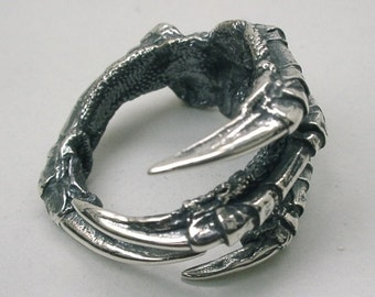 Raven Claw Ring in solid Sterling Silver, Carrion Crow