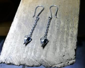 Super Tiny Owl Skull Ear Rings, Sterling Silver