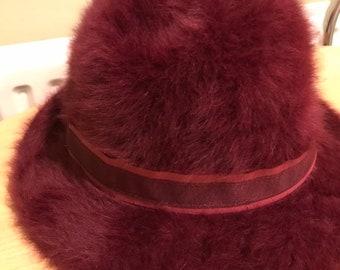 768215214df Vintage Angora trilby hat   burgandy - Size Regular