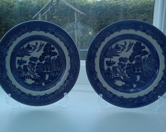 Vintage Johnson Bros - Willow plates x 2.  Diameter 6""