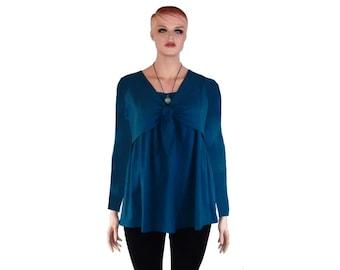 Nursing Top/Shirt-Breastfeeding Shirt-FauxTie Layered Shirt-HandDyed Bamboo/Organic Cotton Jersey-Custom Color&Sleeve-XXS thru All Plus Size