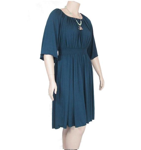 Plus Size Peasant Dress Shirred Waist All Natural Fiber | Etsy