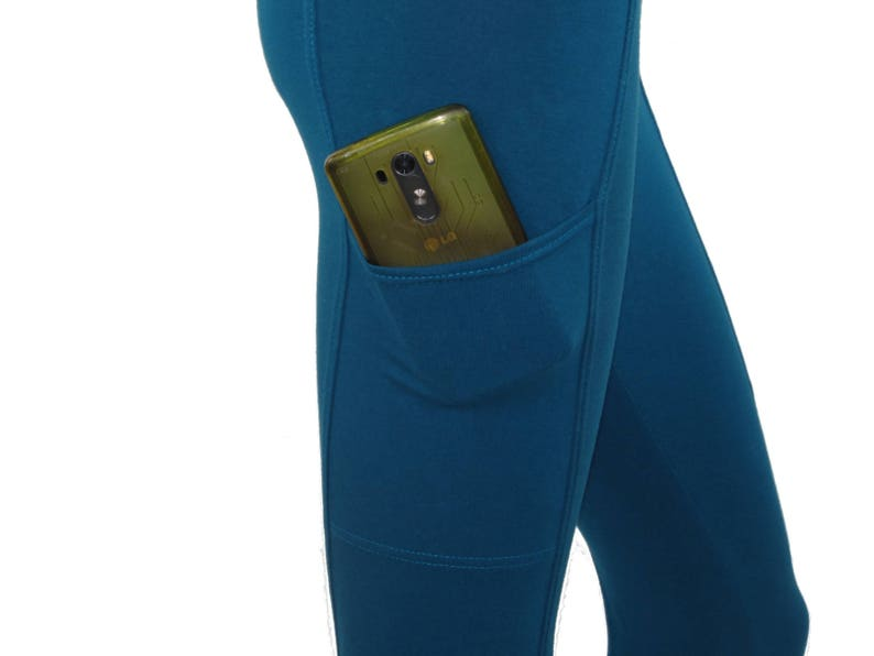 Hand Dyed Organic CottonBambooLycra-Perfect Secure Cell Phone Pocket-Integrated Slim Design-Yoga-Choice of Color/&Size Pocketed Leggings