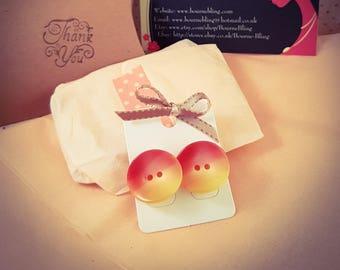 Large Sunset Yellow and Orange Button Earrings  [E132]