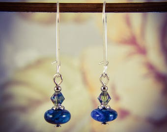 Lapis Lazuli Faceted Glass Bead Long Silver Plated Gemstone Earrings [E70]