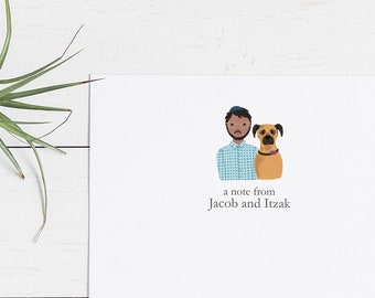 Printable Family Pet Portrait Note Cards | Personalized Stationery, Thank You Cards, Pet Portraits