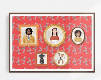 Wes Anderson Style Family Portrait | Custom watercolor people and pet portraits archival print | Royal Tenenbaums style