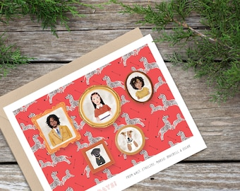 Wes Anderson Style Holiday Cards | Custom watercolor family and pet portraits | Vintage Style Christmas Cards
