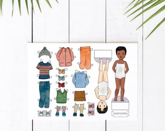 Printable Paper Dolls with dress up outfits